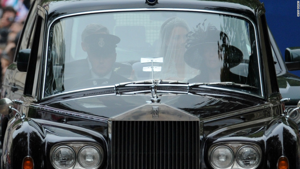 Catherine Middleton and her father Michael Middleton travel in a Phantom VI to Westminster Abbey for her wedding to Prince William on April 29, 2011 in London.