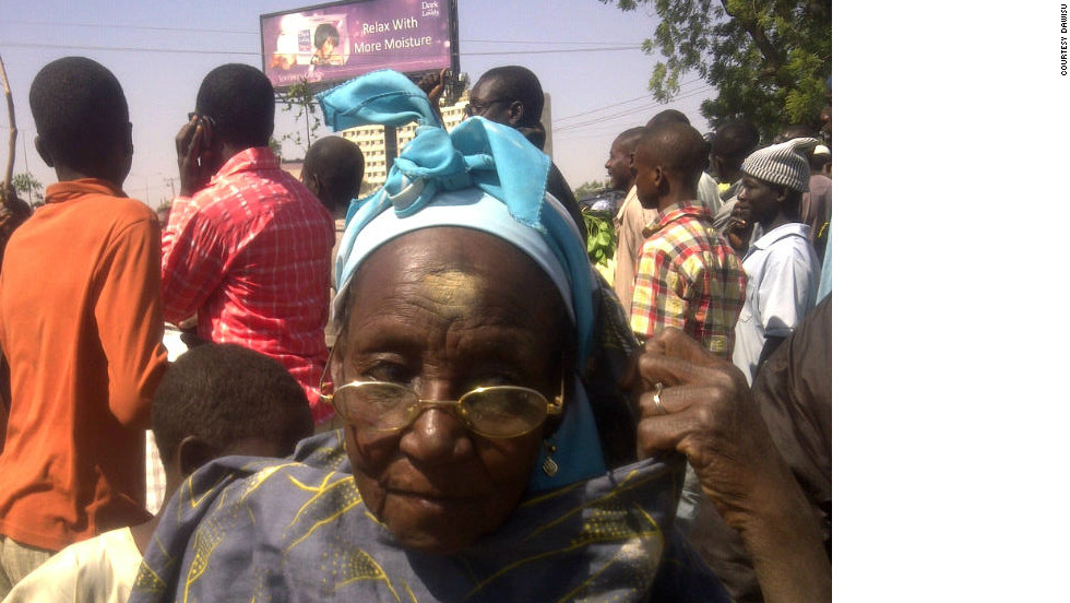 An 83-year-old woman joins the protest rally at Liberation Square in Kano State.