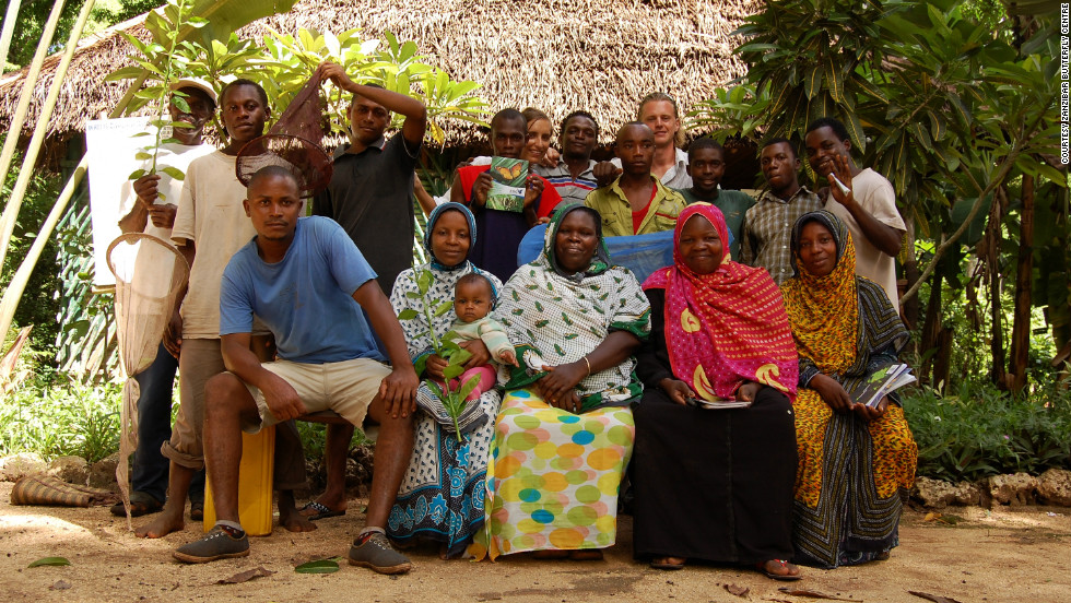 Farmers and staff at the Zanzibar Butterfly Centre, near Jozani-Chawka Bay National Park on Unguja Island.