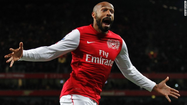 French striker Thierry Henry celebrates after scoring the winner against Leeds on his return to Arsenal.