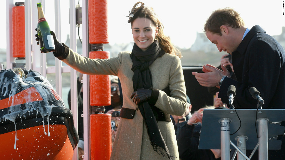 Prior to the royal wedding Kate took part in her first official public engagement, joining Prince William to launch a new lifeboat in Anglesey, north Wales.