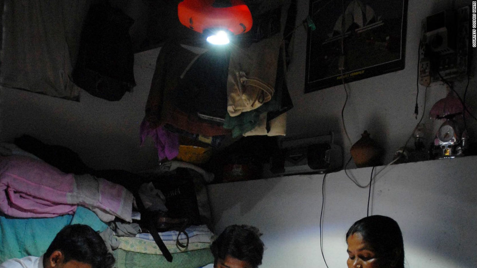 "The ""MightyLight"" (pictured), developed by a small start-up in Delhi, India is already being used by 100,000 of the country's poorest people. It can be applied as a ceiling light, wall light, or torch light; is both water and shock proof; can run for up to 12 hours on a single charge and comes in at $25."
