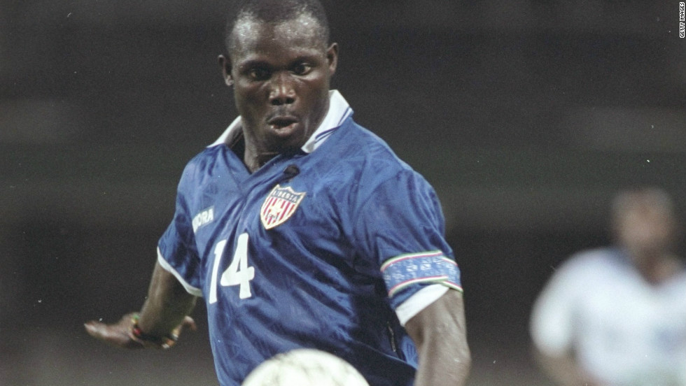 George Weah of Liberia plays during the African Cup of Nations match against Gabon in Durban in 1996. He ran unsuccessfully for president in 2005 in his country.