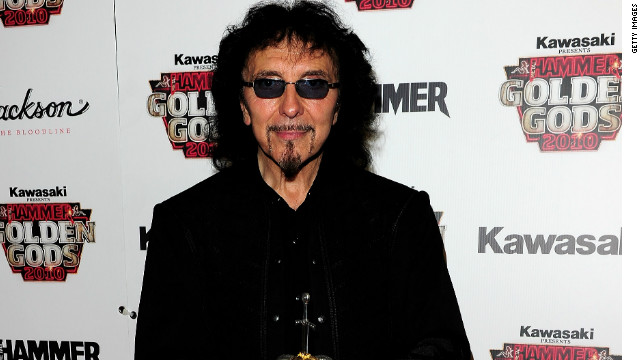 Tony Iommi poses with the best album award at The Metal Hammer Golden Gods Awards in 2010.