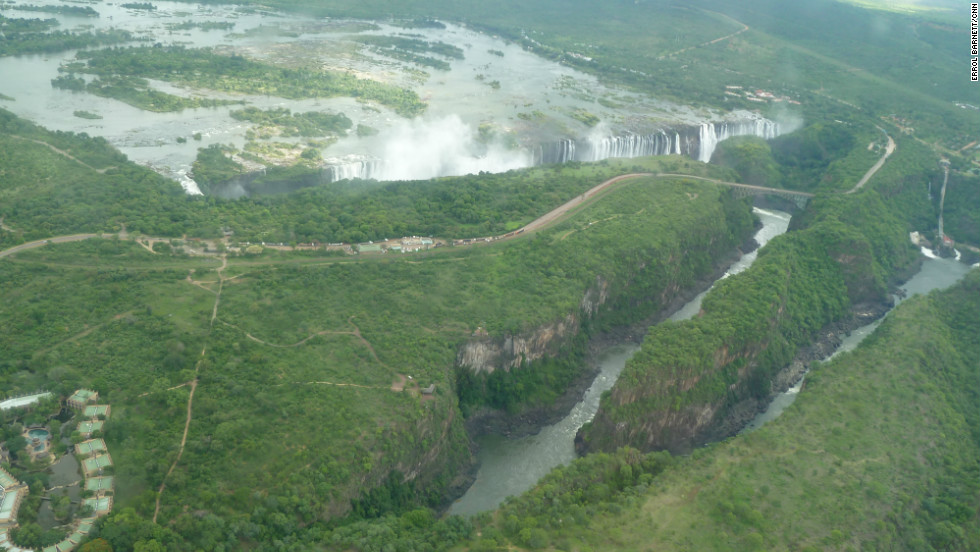 Victoria Falls seen from the air.