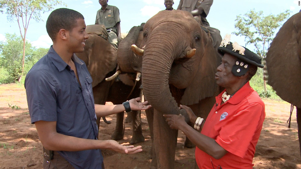 Errol comes face to face with an elephant.