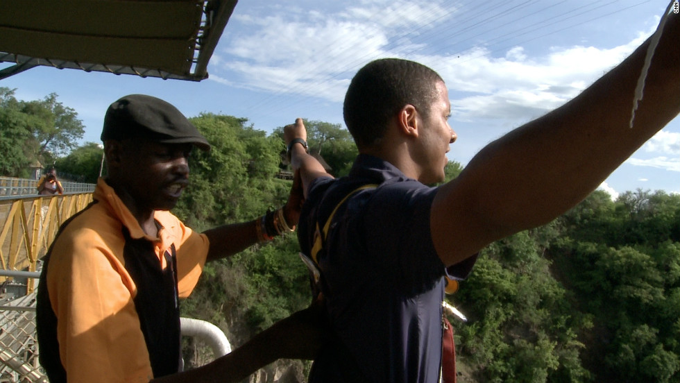 Errol Barnett prepares for a bungee jump over the falls.