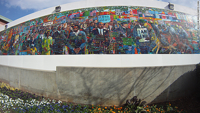 "Louis Delsarte unveiled a mural commissioned by the city of Atlanta, ""Dreams Visions and Change,"" on January 17, 2010."