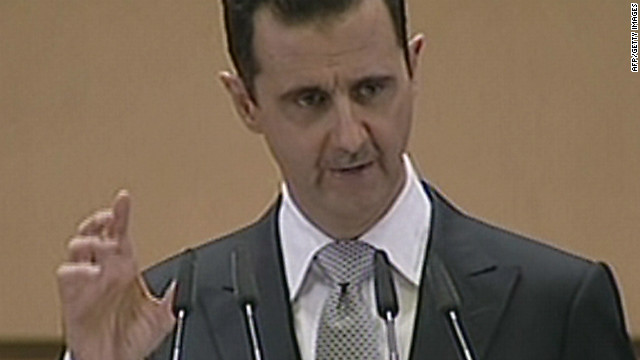 This videograb from Syrian state television shows Syrian President Bashar al-Assad delivering a speech in Damascus on January 10, 2012.