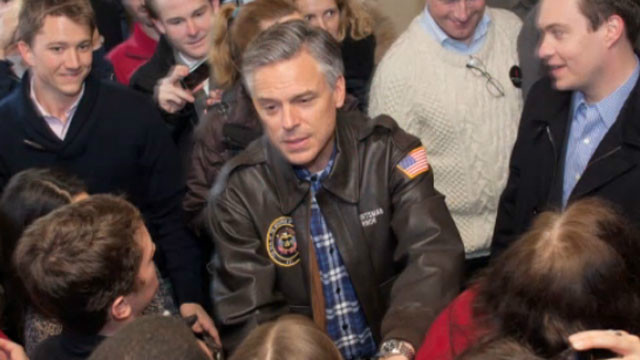 Jon Huntsman greets supporters as he campaigns in New Hampshire