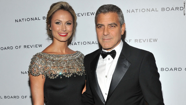 Stacy Keibler and George Clooney attend the 2011 National Board of Review Awards Gala.