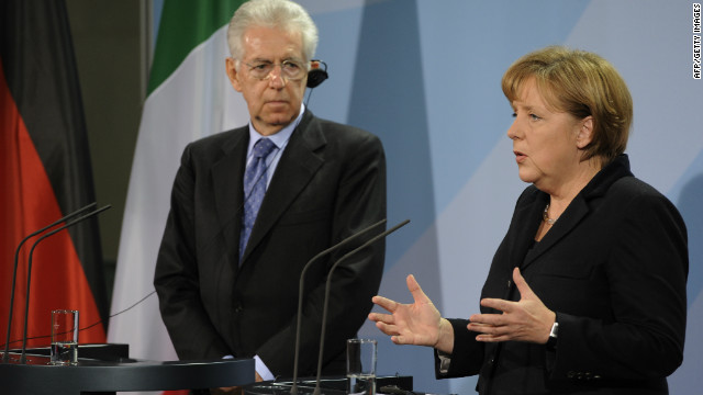 Italian Prime Minister Mario Monti, left, with German Chancellor Angela Merkel earlier this year.