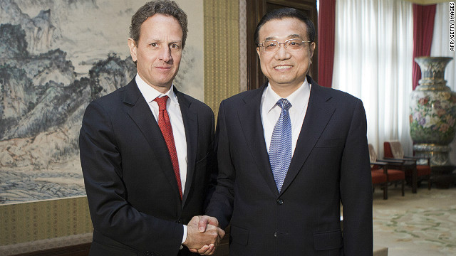U.S. Treasury Secretary Timothy Geithner meets with Chinese Vice Premier Li Keqiang on January 11, 2012 in Beijing, China.