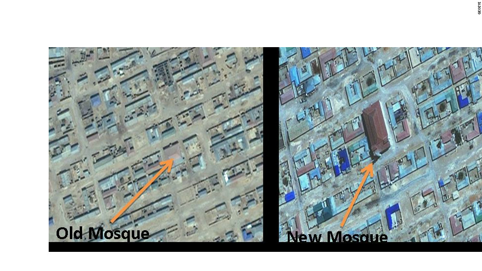This satellite imagery shows the central part of the city of Garowe, Somalia. The picture on the left was taken in February 2002, the image on the right was taken in July 2009.