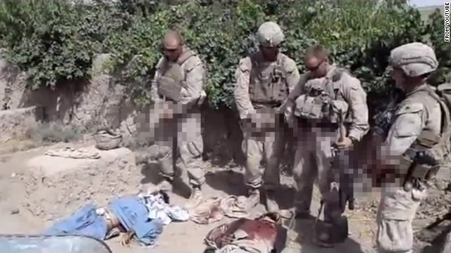 A still from a video purporting to show U.S. Marines urinating on dead Taliban fighters.