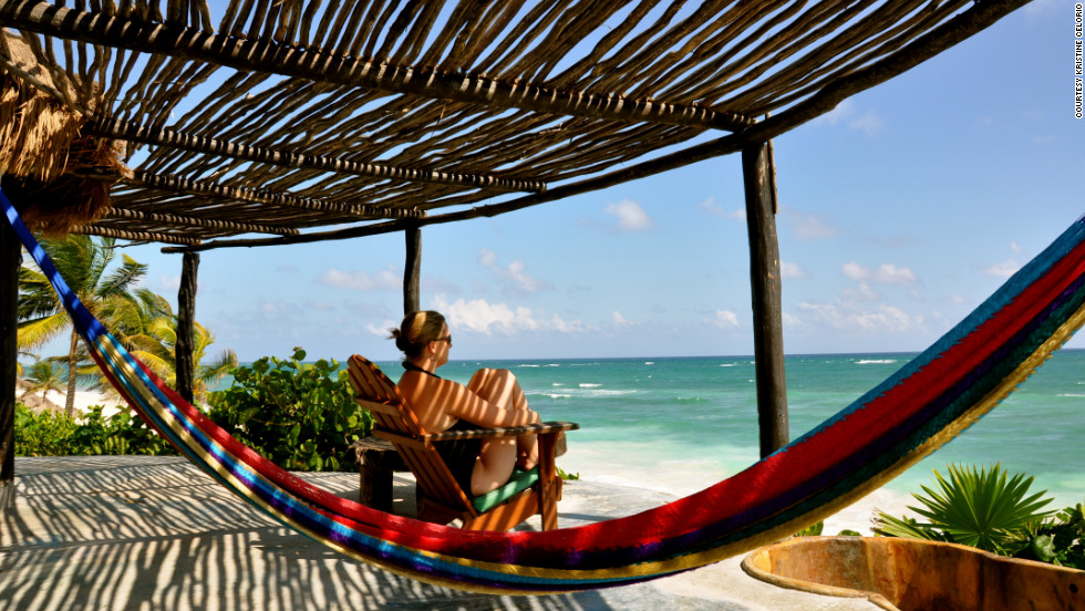 """Tulum is a beautiful place south of Cancun if you yearn for a place that is rustic and unplugged,"" Kristine Celorio said. ""Unwinding is easy with the waves crashing outside your cabana. In this picture you can see the only three choices I had to make that day... hot tub, hammock, or ocean."""