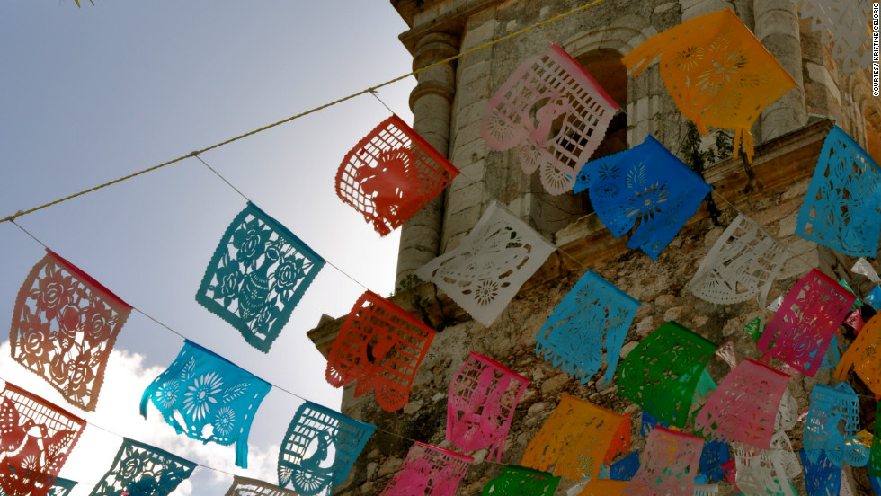 """In the middle of the Yucatan Peninsula is the beautiful city of Valladolid with its lazy plazas and grand churches,"" Kristine Celorio said. ""There is amazing architecture to enjoy and I happened upon a great display of the traditional decoration 'papel picado' flying in the breeze."""