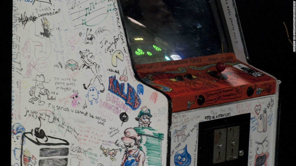 MAGFest's famous arcade cabinet, which has been signed by many attendees over the event's 10-year lifespan.