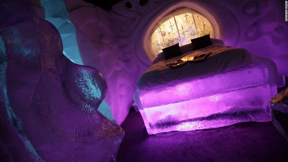 Temperatures in the ice hotel's rooms hover around 8 degrees Celsius (46 degrees Fahrenheit).