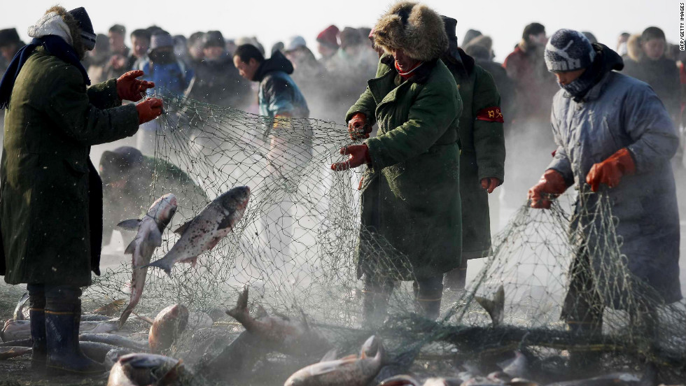 Ice art isn't the only cold-weather attraction. Each winter fisherman gather for an annual winter fishing festival in Changchun, northeast China.