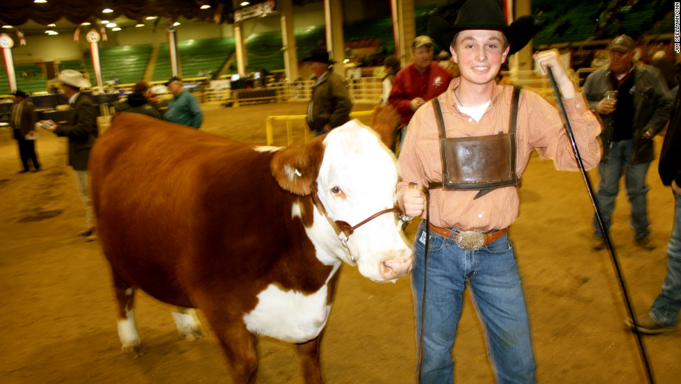 Blake Tucker, 16, traveled from North Platte, Nebraska, with his cow Diana.They won the blue ribbon in the junior polled female category. Diana¹s mother, Shelby, and grandmother, Harley, were also champions.