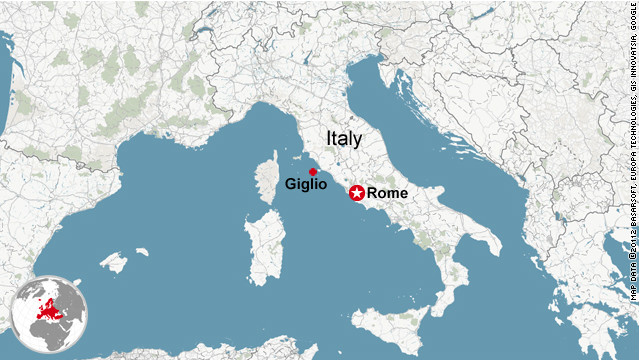 Where the Costa Concordia ran aground