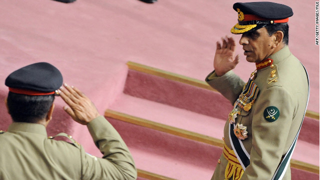 Pakistani army chief General Ashfaq Pervez Kayani receives a salute from an officer in Islamabad in 2008.