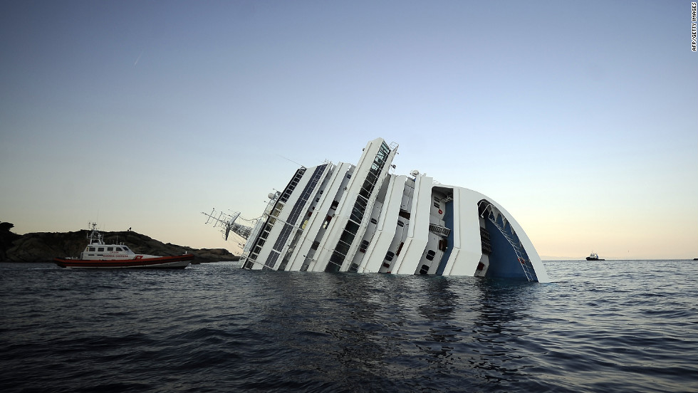 The Costa Concordia struck rocks on January 13 and turned on its side off the Italian island of Giglio.