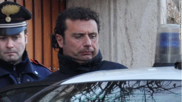 Francesco Schettino, captain of the Costa Concordia, is taken into custody Saturday.