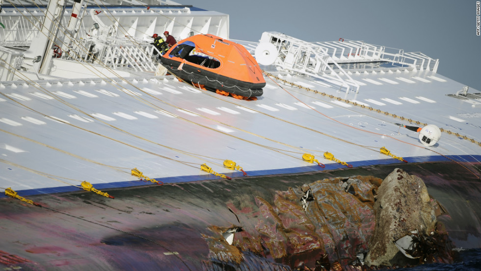 Rescuers search the Costa Concordia on January 15.