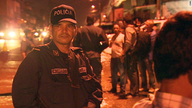 Police patrol the streets of Tegucigalpa, the capital of Honduras, a country  with the world's highest murder rate.
