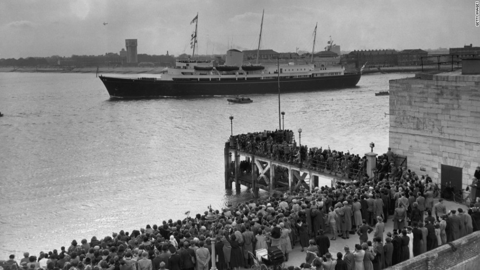 For decades, the Britannia was an integral part of royal transportation. Here, a crowd bids farewell to the yacht as she transports Prince Charles and Princess Anne to Tobruk, to join their parents on the last stage of the Commonwealth Tour in 1954.