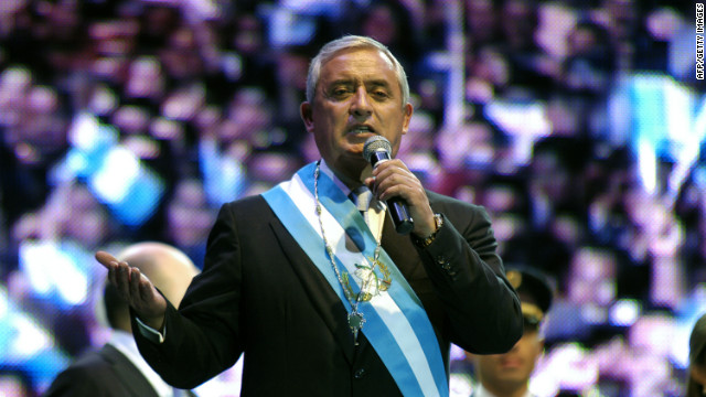 Guatemala's President Otto Perez Molina addresses a crowd during his inauguration ceremony on January 14.