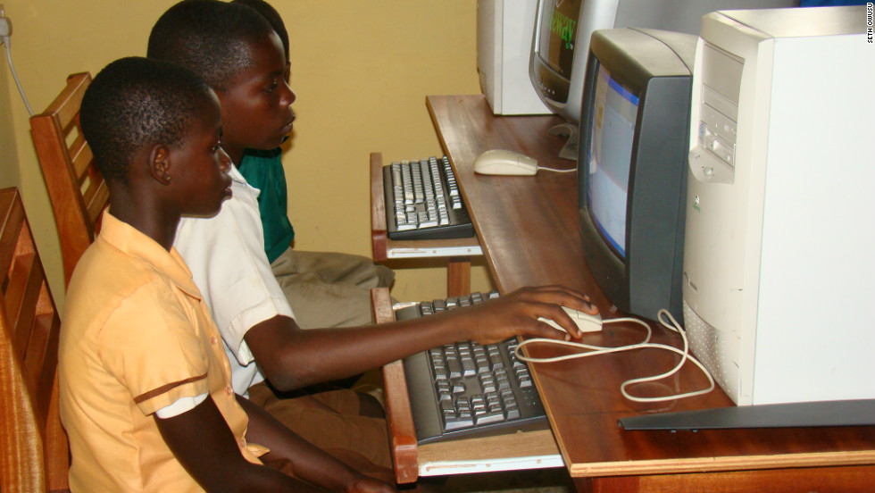 """The kids the first time are scared to touch the keyboard and the mouse, so you see a kid sit there like this and just look at the screen,"" says Owusu.<br /><br />""But you go there the next year when we do a follow-up visit and they want to grab me and show me what they can do with the computer."""