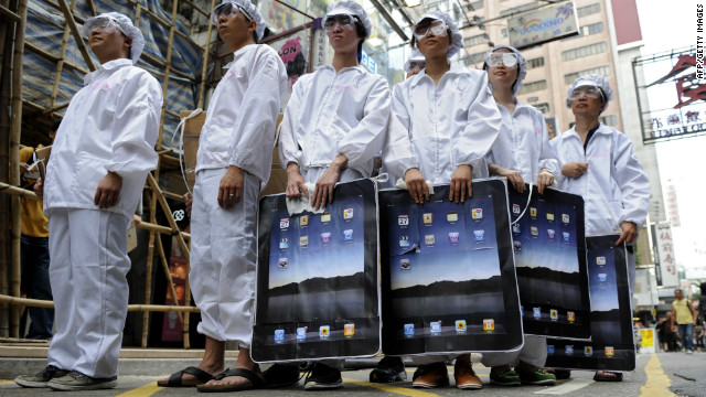 A protest against Foxconn in Hong Kong last year.