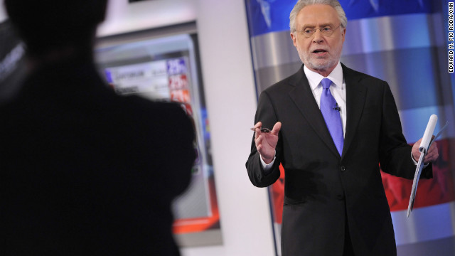 Wolf Blitzer on set in the CNN Election Center during the Iowa Caucuses 2012.
