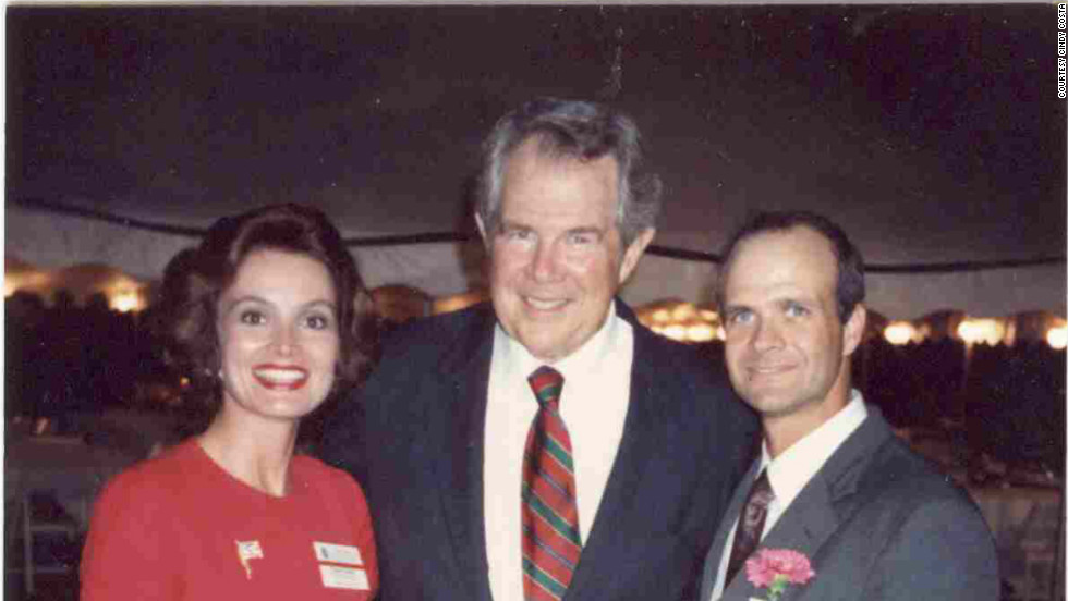 Costa and her husband, Louis, right, attend a Christian Coalition reception at televangelist Pat Robertson's home in fall 1992. Costa helped launch the coalition's South Carolina chapter.