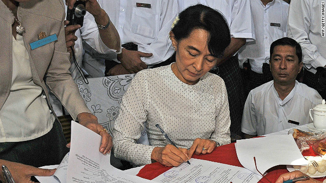 Myanmar democracy icon Aung San Suu Kyi registers to run as a candidate in upcoming by-elections on the outskirts of Yangon on January 18, 2012.