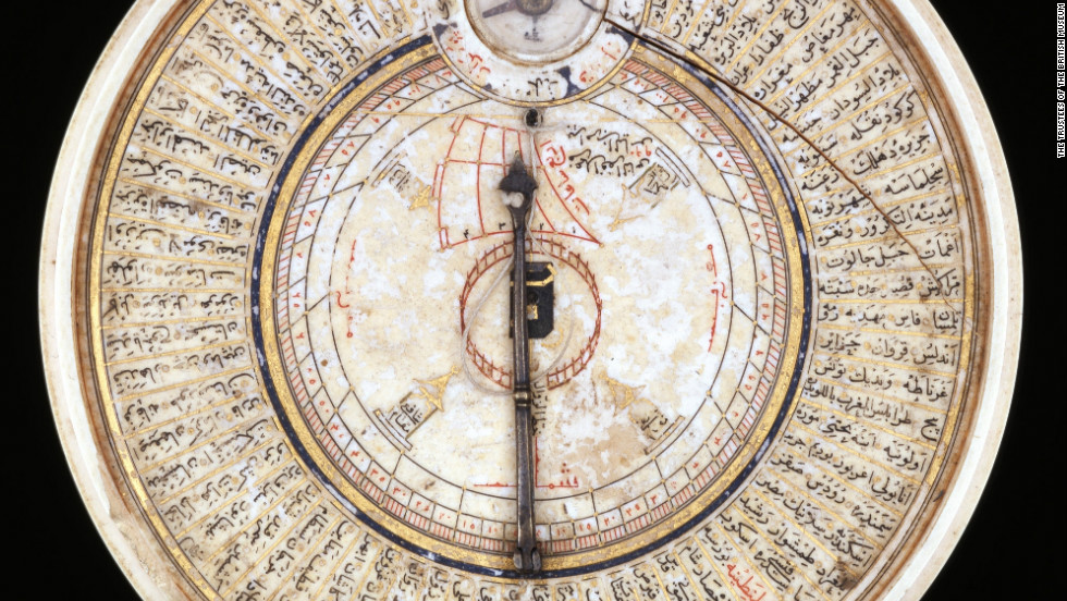 Ivory sundial and Qibla pointer, pointing in the direction of Mecca, which Muslims face when they pray. Made by Bayram B. Ilyas, Turkey, 1582-3