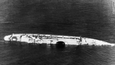 27th July 1956: The Andrea Doria, part of Italy's transatlantic liner fleet, now lies a battered wreck about 300 miles east of New York after colliding with the Swedish liner Stockholm. Four people died in the accident, 1700 passengers were rescued. (Photo by Keystone/Getty Images)