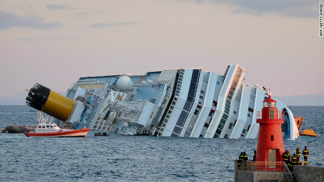 The Costa Concordia ran aground offshore of Giglio, Italy, in January.