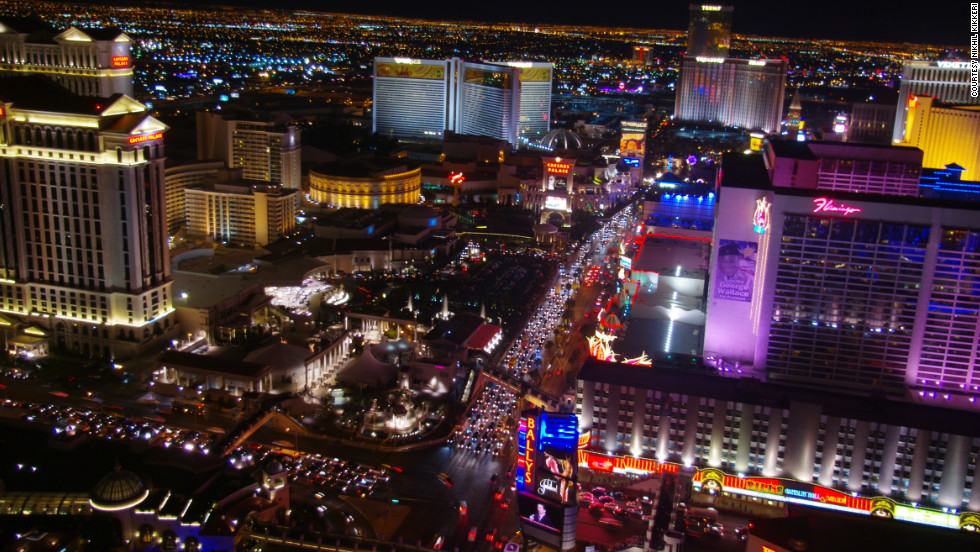 "Nikhil Kikkeri captured this ""view of the Vegas strip looking towards the Mirage, shot from the top of the Eiffel Tower at the Paris Casino."""