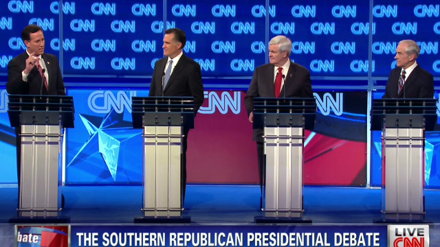 Rick Santorum, from left, Mitt Romney, Newt Gingrich and Ron Paul debate in South Carolina last week.