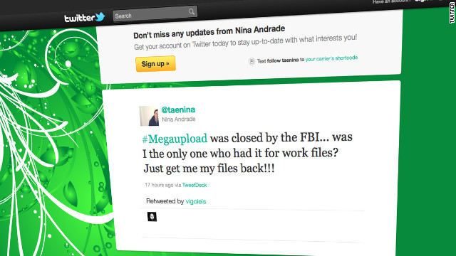Former Megaupload users took to Twitter and other sites to complain that they'd lost legal material because of the crackdown.
