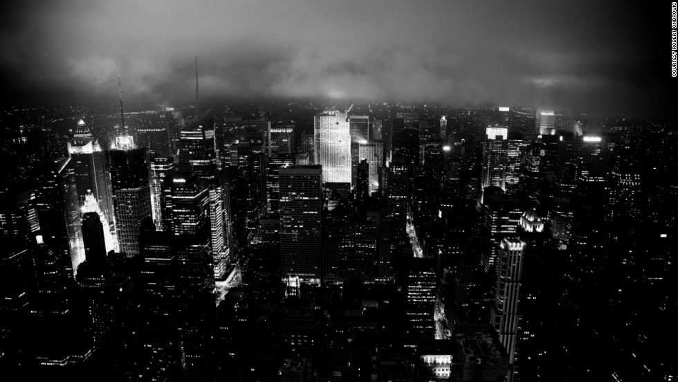 Robert Ondrovic took this moody aerial photo of New York City from the top of the Empire State Building in Midtown Manhattan at 1 a.m. on a rainy night.