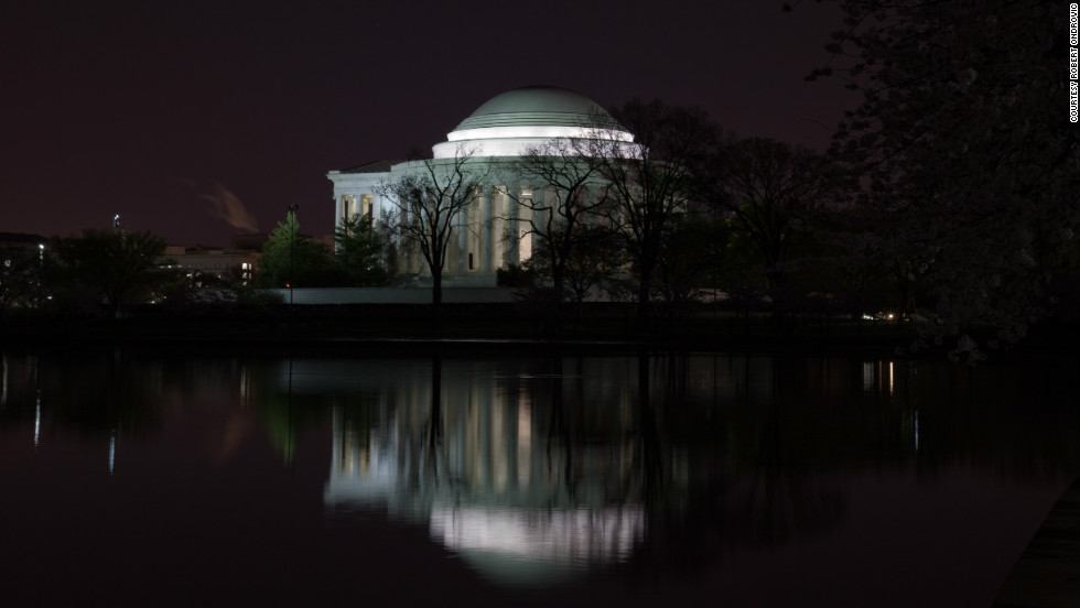 Robert Ondrovic took this photo of the Jefferson Memorial a few blocks from the tidal basin at midnight during the Cherry Blossom Festival in Washington.