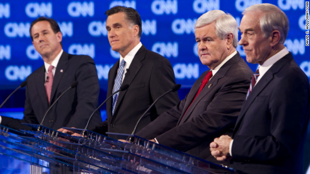 The four remaining GOP presidential candidates, Rick Santorum, Mitt Romney, Newt Gingrich and Ron Paul face off at the CNN debate in Charleston.