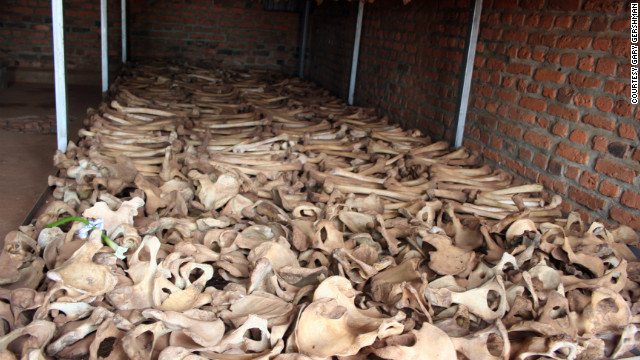 Bones are lined up in the crypt at Nyamata Genocide Memorial.