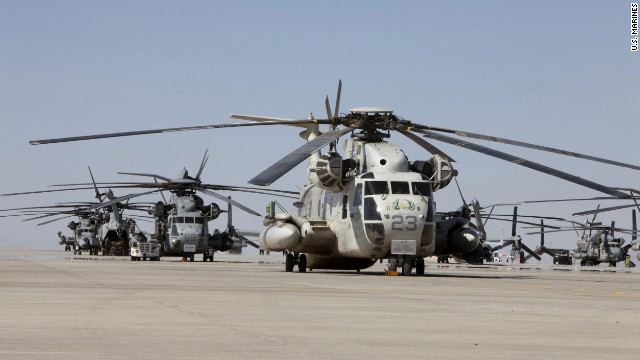 U.S. Marine CH-53 copters, like the one that crashed Thursday, sit on a tarmac in Afghanistan last year.