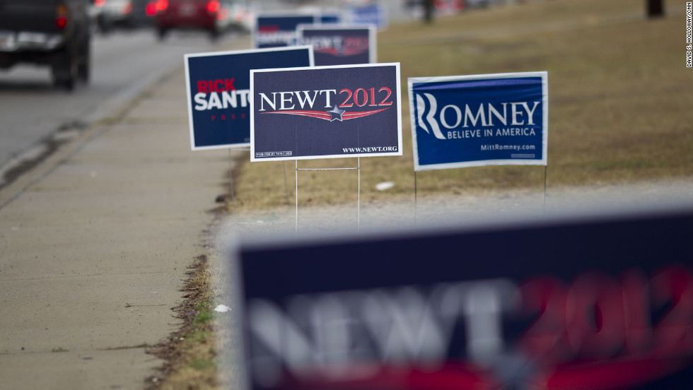 Campaign signs are seen lining North Lake Drive near the polling station at Lexington Middle School in Lexington, South Carolina.